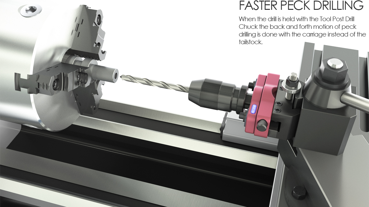 tool post peck drill bit chuck lathe cutting tools on spindle axis southbend